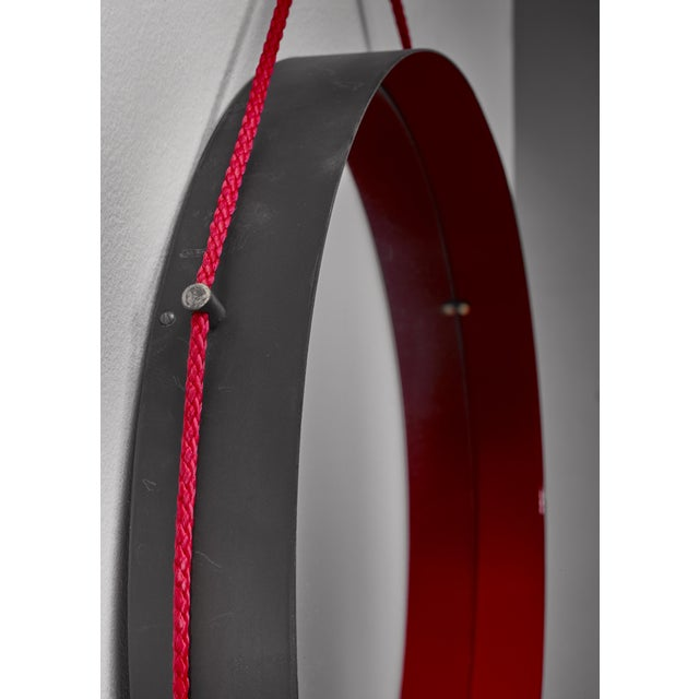 Mid-Century Modern Black and red enamel metal wall mirror, Italy For Sale - Image 3 of 4