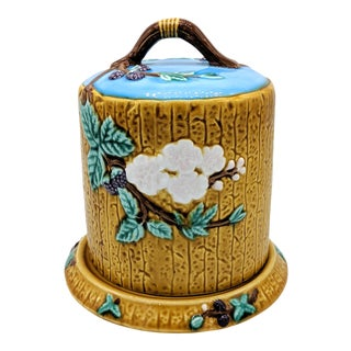 20th Century Majolica Yellow and Blue Floral Cheese Dome/ Cloche For Sale