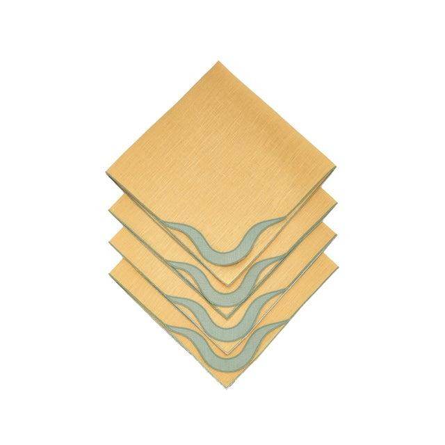 Moda Domus Moda Domus x Chairish Exclusive Scalloped Linen Placemat + Napkin Colorblock Set For Sale - Image 4 of 9