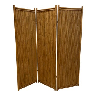1960s Three Panel Bamboo Screen For Sale