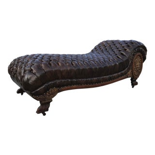 20th Century Traditional Oak Brown Tufted Chaise Lounge For Sale