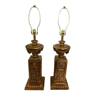 Oversized Vintage Gold Lamps, Pair For Sale