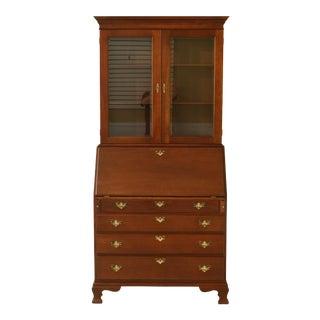 1970s Craftique Solid Mahogany 2 Pc Secretary Desk Bookcase For Sale
