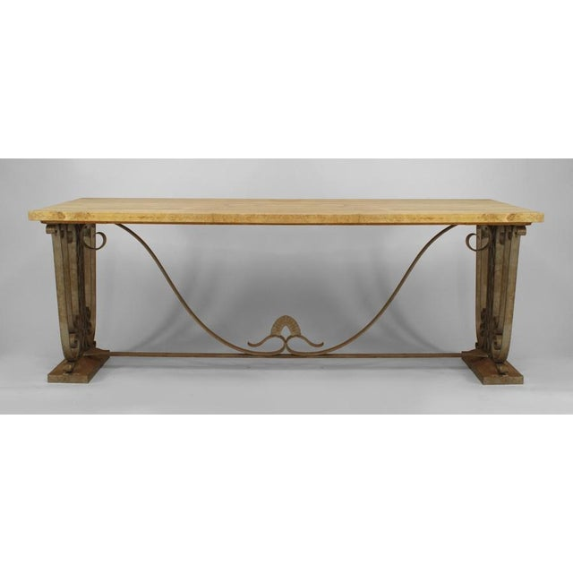 French Art Deco large rectangular iron scroll side center table with stretcher and yellow marble top