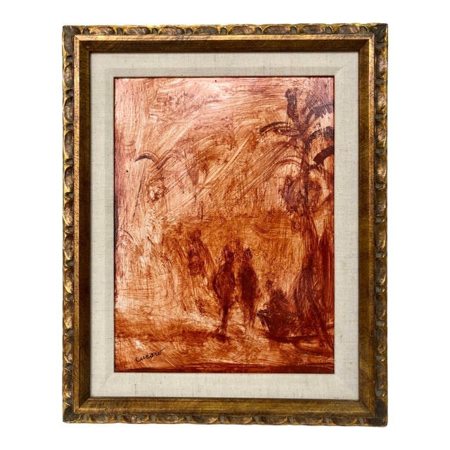 Pascal Cucaro Mid-Century Oil Painting on Board, Framed For Sale