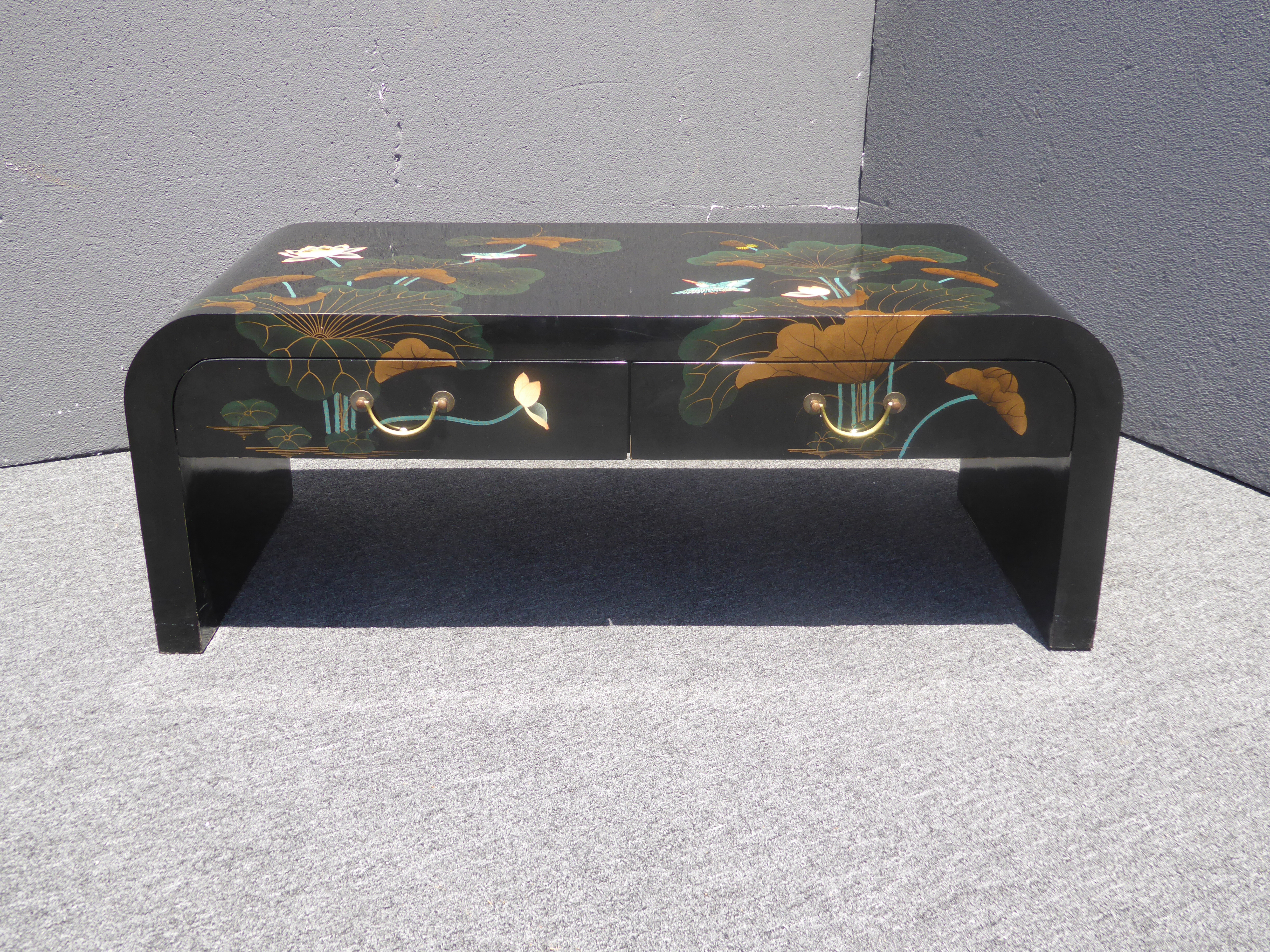 Vintage Black Lacquered Chinoiserie Asian Floral Design Two Drawer Coffee  Table   Image 4 Of 11