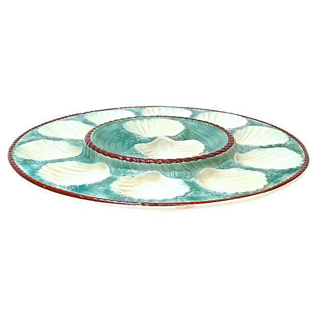 Majolica Antique Majolica Oyster Platters - Set of 8 For Sale - Image 4 of 6