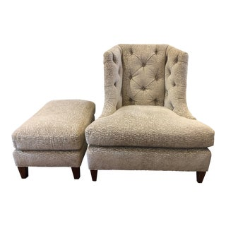 Baker Furniture Moderne Wing Chair + Ottoman For Sale