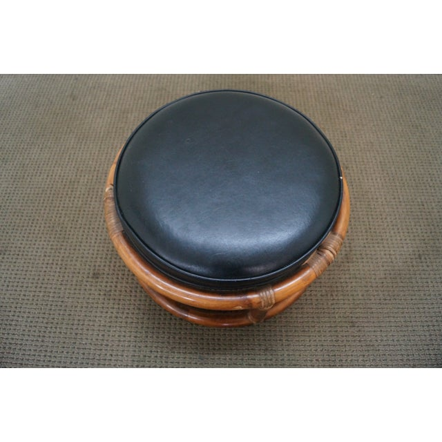Traditional Vintage Round Rattan Bamboo Ottoman Footstool For Sale - Image 3 of 10