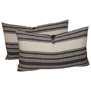 Pair of Handwoven Striped Indian Weaving Bolster Pillows For Sale