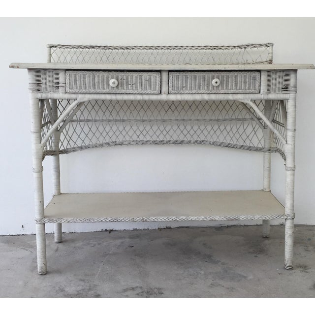 Antique White Wicker Console - Image 2 of 8