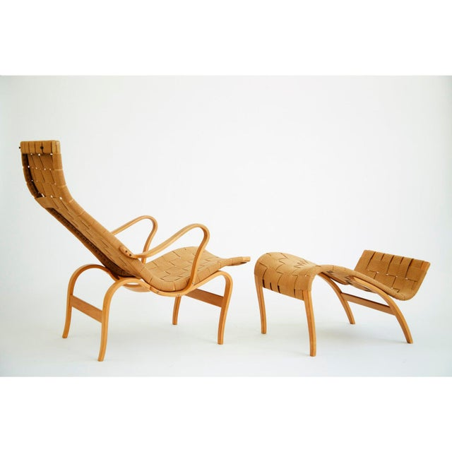 Karl Mathsson 1940's Bruno Mathsson Pernilla Lounge Chair and Ottoman For Sale - Image 4 of 8