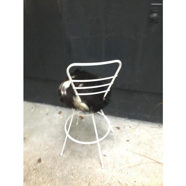 Mid-Century Modern Mid Century White Metal Stool For Sale - Image 3 of 4
