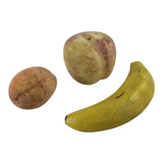 Alabaster Banana, Plum and Apple - Set of 3 For Sale