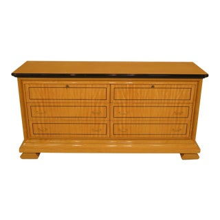 1990s Biedermeier Style Satinwood 6-Drawer Double Dresser For Sale