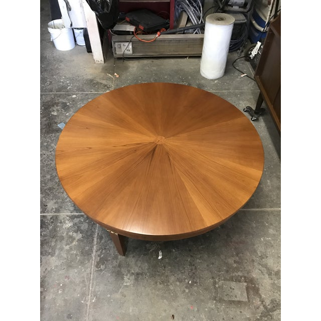 Cherry Wood Round Coffee Table by Baker For Sale In Los Angeles - Image 6 of 10