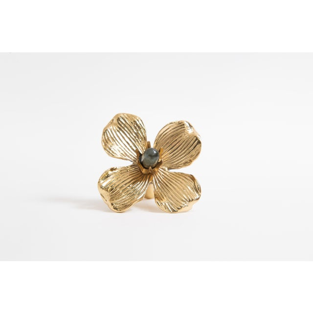 "Addison Weeks Dogwood 3"" Custom Knob - Polished Brass & Labradorite For Sale - Image 4 of 7"