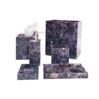 Amethyst Bath Accessory Set - 6 Pieces For Sale