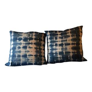 Hand Dyed Indigo Shibori Pillowcases - a Pair