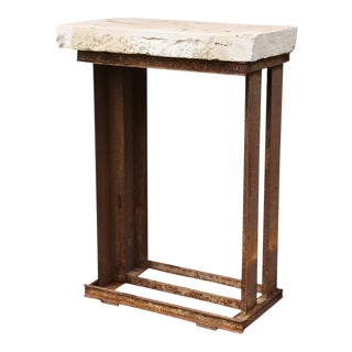 Industrial Iron Stone Top Table For Sale