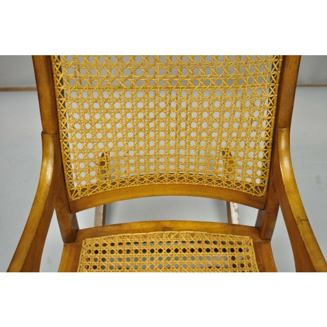 Wood 19th Century Antique Eastlake Victorian Cane & Maple Wood Primitive Rocker Rocking Chair For Sale - Image 7 of 12