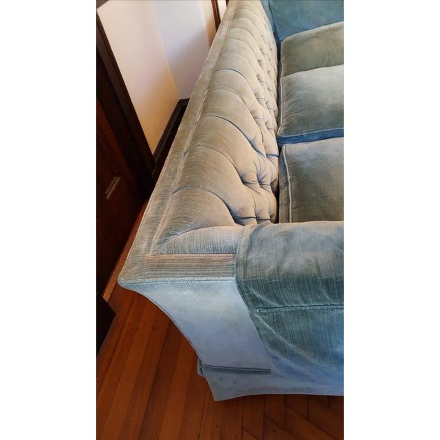 Henredon Henredon Teal Velvet Sofa For Sale - Image 4 of 4