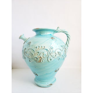 Large Glazed Turquoise Earthenware Italian Jug Preview