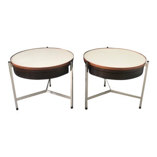 Edward Wormley for Dunbar Round Occasional Tables - a Pair Mid Century Style For Sale