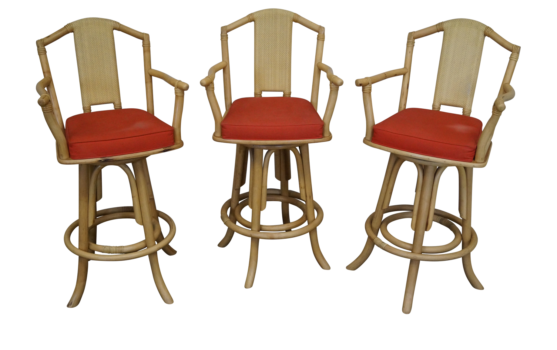 Vintage Bent Bamboo U0026 Rattan Swivel Bar Stools    Set Of 3