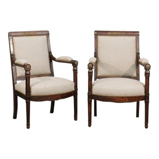 English 19th Century Empire Revival Upholstered Armchairs with Palmettes
