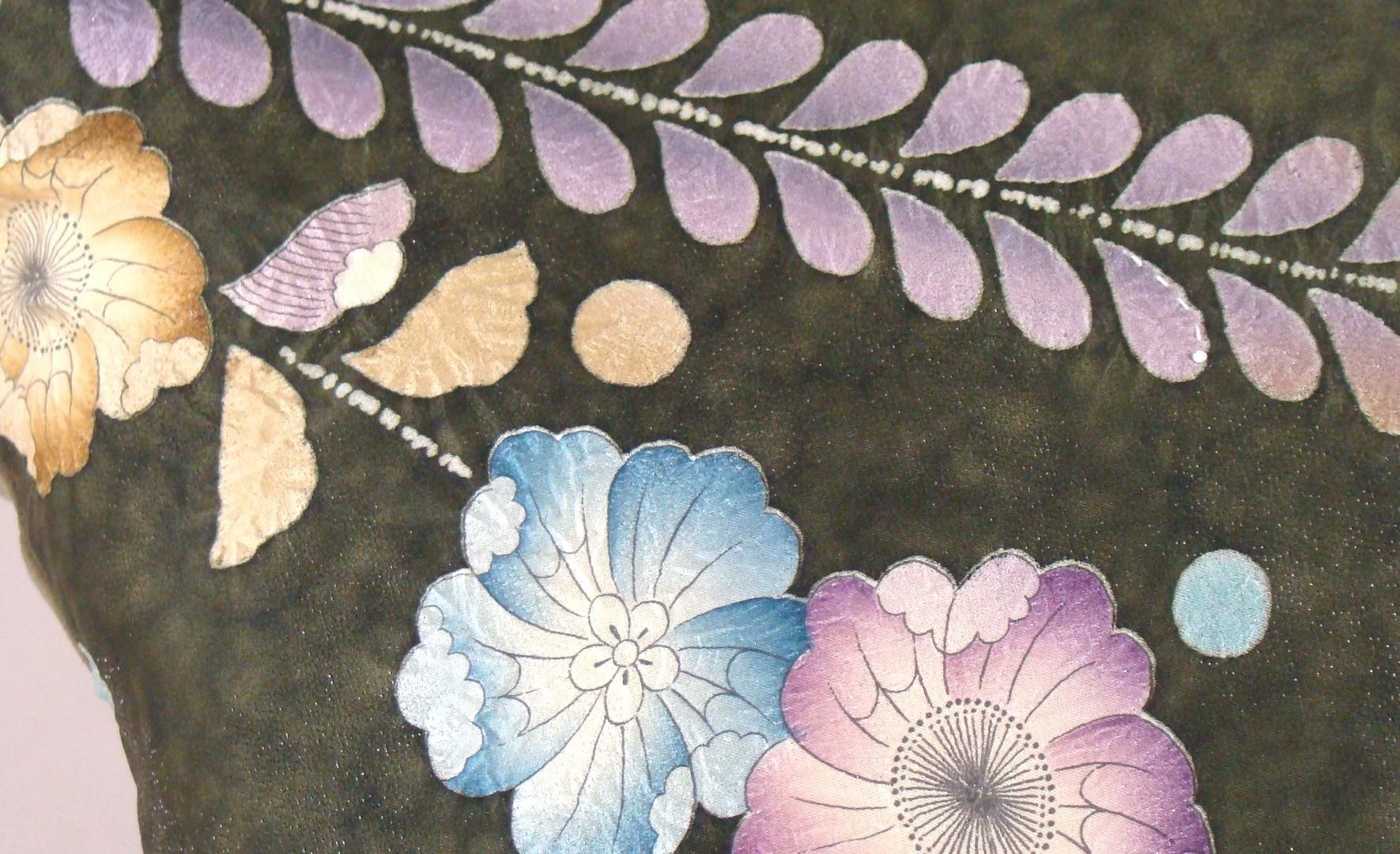 Olive Green Japanese Tsujigahana Silk Kimono Pillow Cover Fits 16 x 20 Pillow Insert