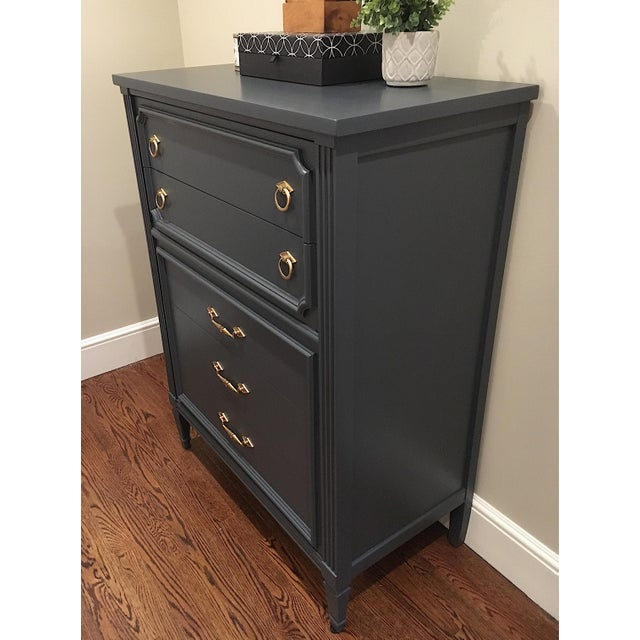 Hollywood Regency 1970s Hollywood Regency Bassett Gray Tall Dresser and Nightstand Set - 2 Pieces For Sale - Image 3 of 12