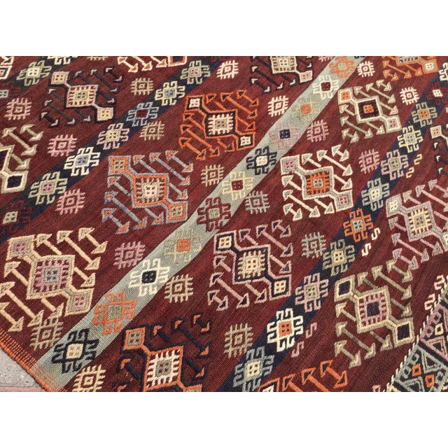 Brick Red Vintage Gorgeous Embroidered Kilim Rug For Sale - Image 8 of 12