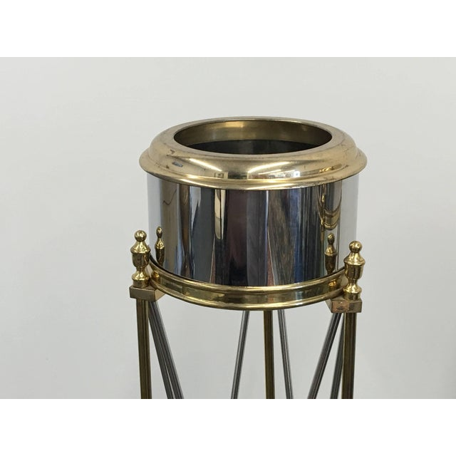 """An outstanding pair of beautifully crafted planters plant pedestal stands jardinières with brass and steel. Featuring """"X""""..."""