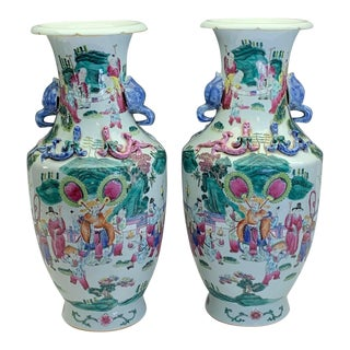 Fine Antique Chinese Guangxu Procession Vases - an Opposing Pair, Qing Dynasty For Sale