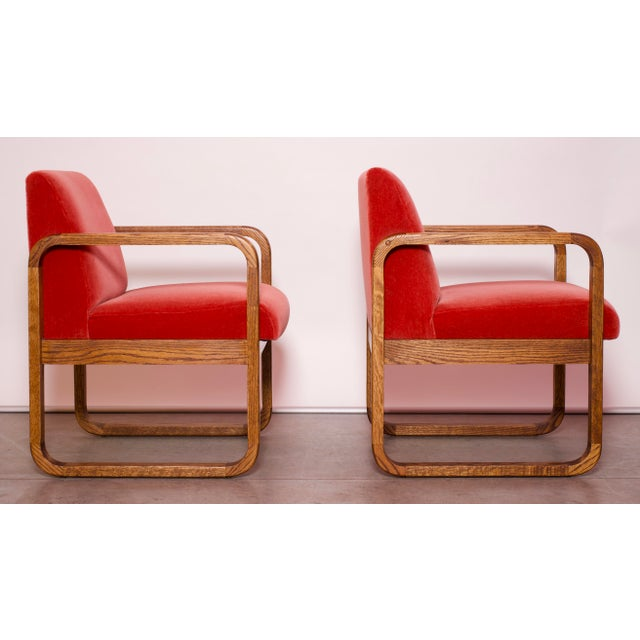 1970s 1970s Mid-Century Modern Crimson Mohair Accent Chairs - a Pair For Sale - Image 5 of 13