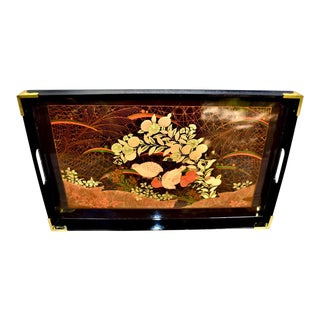 Vintage Japanese Lacquered Bird Motif Serving Tray For Sale