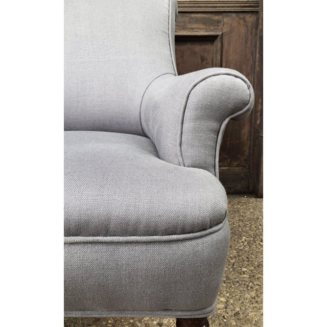 Metal Linen Upholstery French Scroll-Back Armchair For Sale - Image 7 of 13