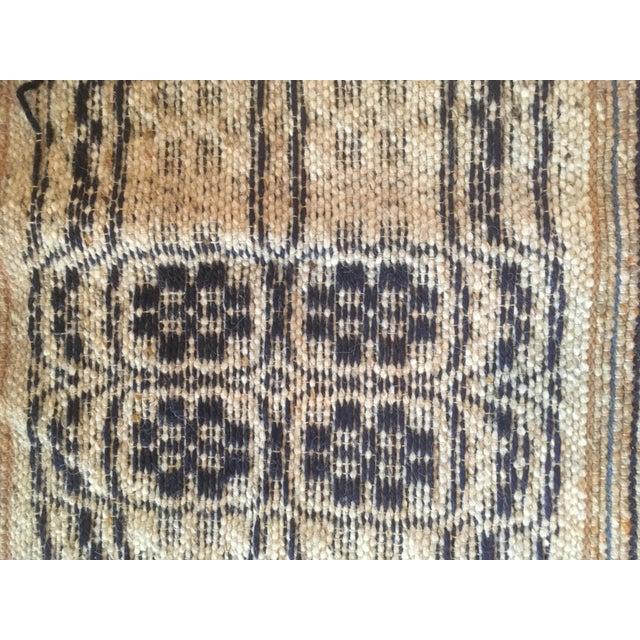 Vintage mid century reversible wool weaving rug saddle blanket textile. Fantastic vintage find. Wool rug soft taupe,...