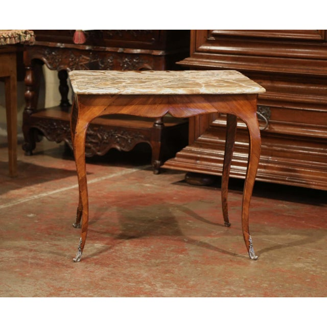 Metal 18th Century French Louis XV Mahogany Occasional Table With Marble Top For Sale - Image 7 of 9