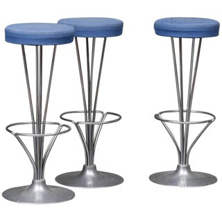 1980s Vintage Piet Hein for Fritz Hansen Bar Stools - Set of 3 For Sale