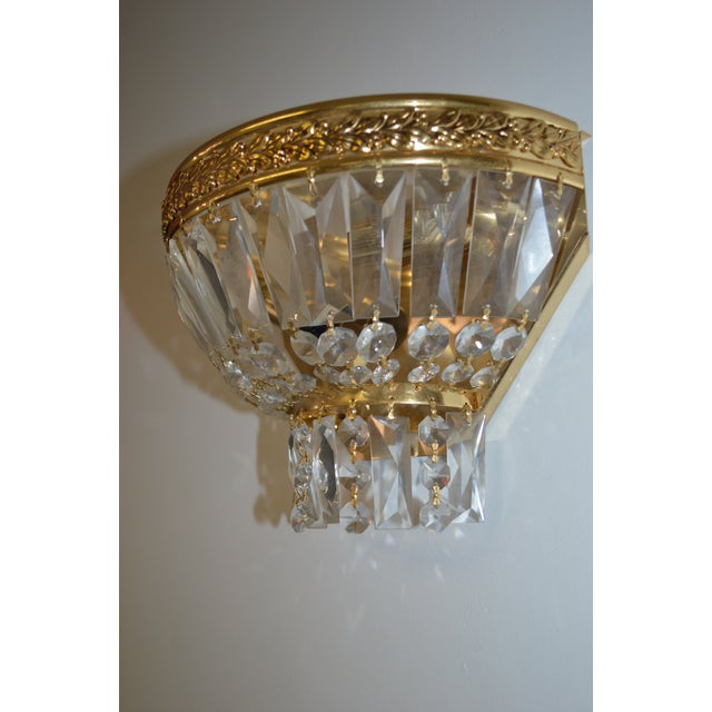 Vintage italian empire montgolfier crystal brass sconce chairish newly wired and polished elegant single sconce ideal for a class of touch in any aloadofball Choice Image