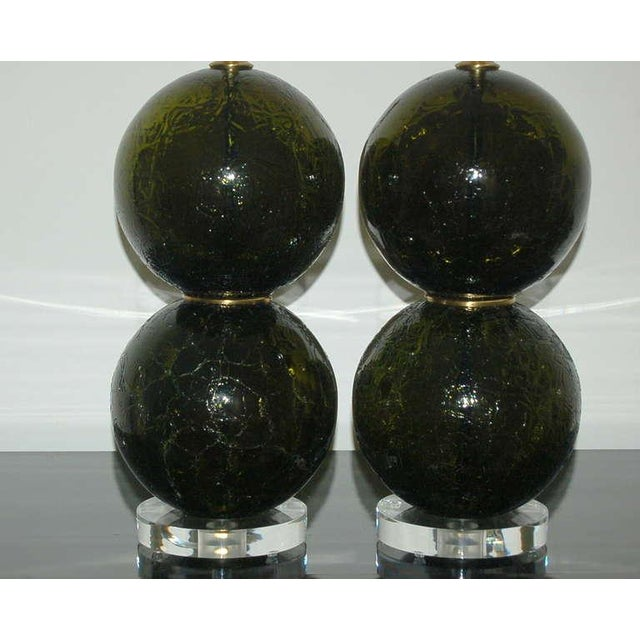 Vintage Murano Craquele Glass Table Lamps Green For Sale In Little Rock - Image 6 of 9