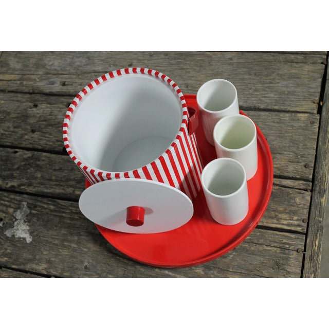 Mid-Century Red & White Ice Bucket, Tumblers and Tray Beverage Set For Sale - Image 6 of 11