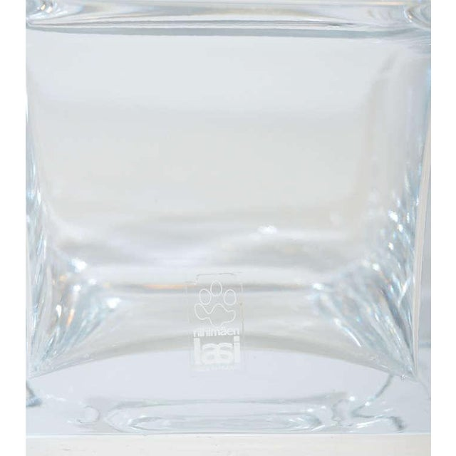 Blue Mid-Century Modernist Stepped Glass Vase by Harmoska For Sale - Image 8 of 9