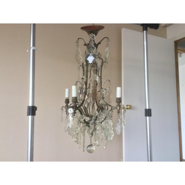 French Four Light Chandelier With Cut Crystal Prisms For Sale - Image 4 of 12