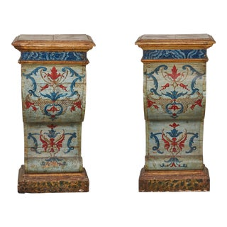 Pair of Sicilian Painted and Parcel-Gilt Tall Pedestal/ Consoles For Sale