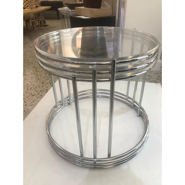 Round Polished Chrome Nesting Tables - Set of 3 For Sale - Image 12 of 13