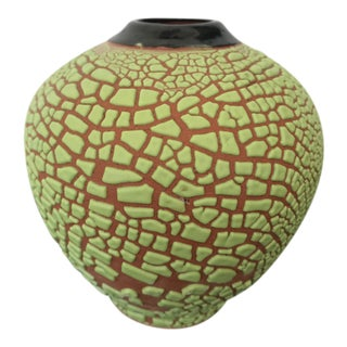Contemporary Handmade Green Crackle Vase For Sale