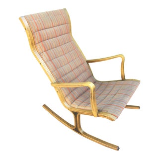 1960s Mid Century Modern Mitsumasa Sugasawa for Kosuga Tendo Mokko Rocking Chair For Sale